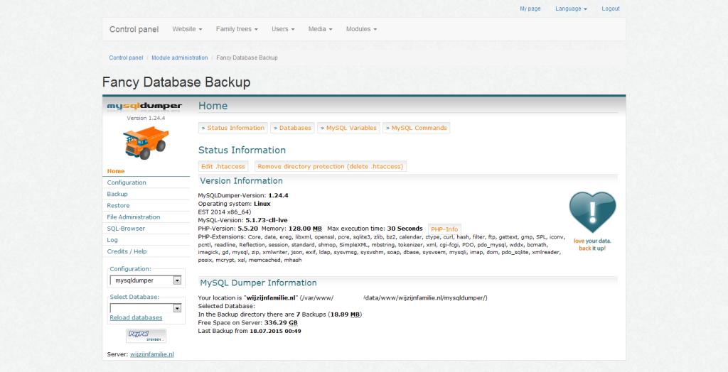 fancy-database-backup-configuration-page